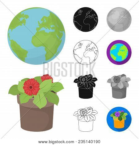 Bio And Ecology Cartoon, Black, Flat, Monochrome, Outline Icons In Set Collection For Design. An Eco