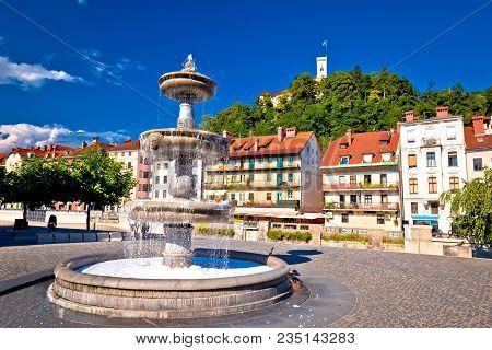 Ljubljana Fountain And Castle Colorful View, Capital Of Slovenia