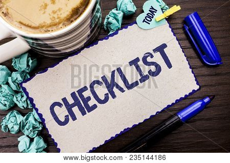 Conceptual Hand Writing Showing Checklist. Business Photo Showcasing Todolist List Plan Choice Repor