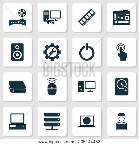 Gadget Icons Set With Touchscreen, Control Device, Speaker And Other Web Elements. Isolated Vector I