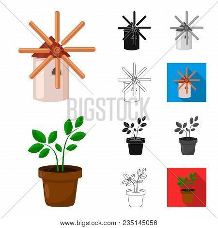 Farm And Gardening Cartoon, Black, Flat, Monochrome, Outline Icons In Set Collection For Design. Far
