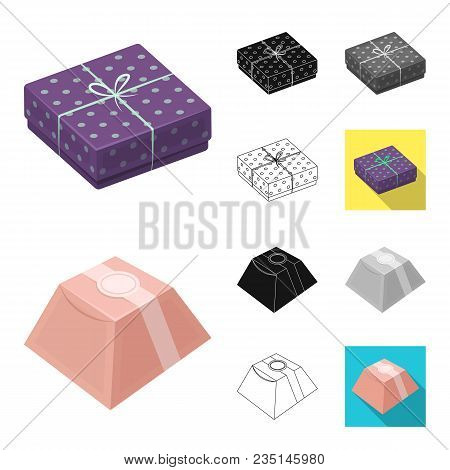 Gift And Packing Cartoon, Black, Flat, Monochrome, Outline Icons In Set Collection For Design.colorf