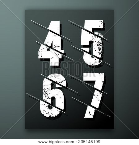 Glitch Number Font Template. Set Of Grunge Numbers 4, 5, 6, 7 Logo Or Icon. Vector Illustration