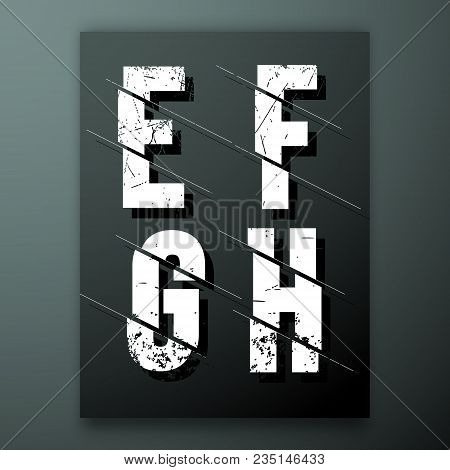 Glitch Letter Font Template. Set Of Grunge Letters E, F, G, H Logo Or Icon. Vector Illustration.