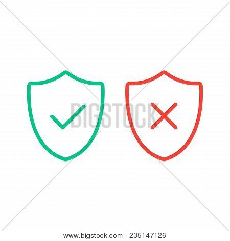 Thin Line Shields With Check Mark Icons. Outline Shields With Green Tick And Red Cross Checkmarks Fl