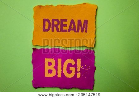 Handwriting Text Dream Big. Concept Meaning Motivation Plan Aim Dream Vision Strategy Challenge Idea