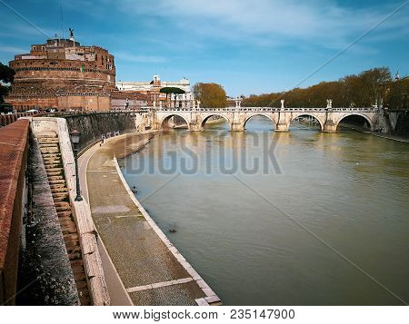 Rome, Italy. April 08, 2018: Ponte And Sant Angelo Castle, Once The Aelian Bridge Or Pons Aelius, Me