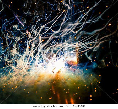 Tig Welding Dual Core Plasma Flux Blast Of Energy, Light, Smoke, Sparks, And Flame Creation