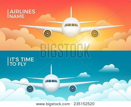 Travel Airplane Tourism Vector Banner Design. World Trip Vacation Background. Aircraft Flight Design