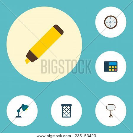 Set Of Workspace Icons Flat Style Symbols With Wall Clock, Whiteboard, Telephone And Other Icons For