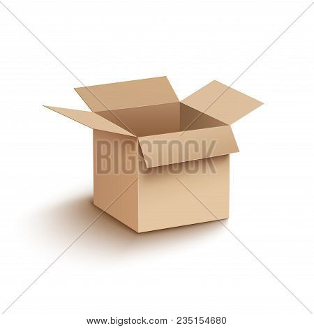 Open Box Cardboard Mockup. Open Carton Cardboard Box Container Package For Delivery Shipping.