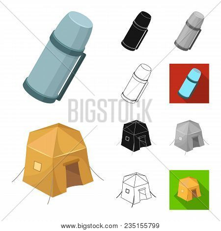 Different Kinds Of Tents Cartoon, Black, Flat, Monochrome, Outline Icons In Set Collection For Desig