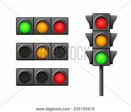 Street Traffic Light Icon Lamp. Traffic Light Direction Regulate Safety Symbol. Transportation Contr