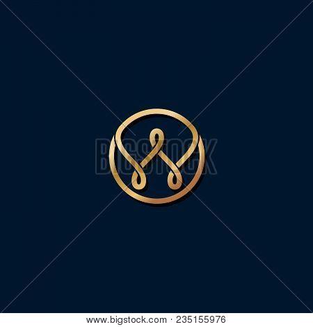 W Logo. W Monogram. Gold Medieval Monogram.