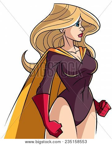 Side View Illustration Of A Powerful And Determined Superheroine With Yellow Cape Looking Forward Re