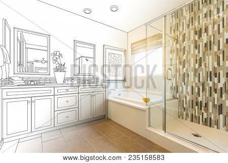 Custom Master Bathroom Design Drawing Gradating to Finished Photo.