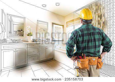 Contractor Facing Custom Master Bathroom Drawing and Photo Gradation.