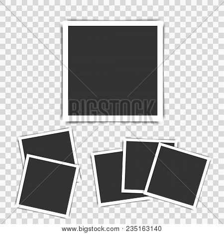 Retro Realistic Vector Photo Frame Placed On Transparent Background.