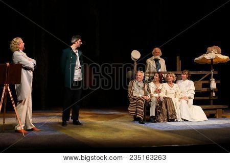 MOSCOW - SEP 14, 2017: The play of actors in Anton Chekhovs play The Cherry Orchard on stage of the Moscow Theater Center the Cherry Orchard in September 2017