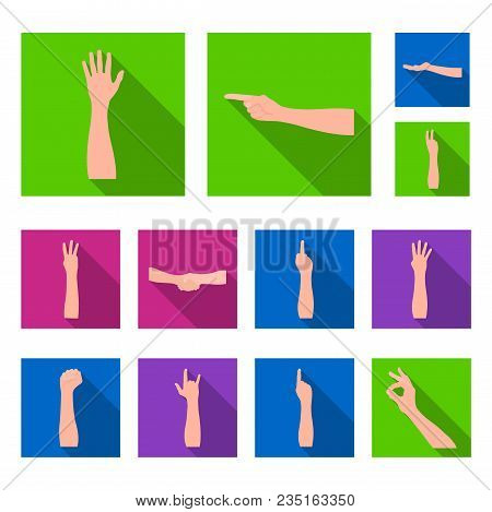 Gestures And Their Meaning Flat Icons In Set Collection For Design.emotional Part Of Communication V