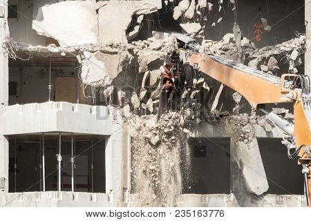 Demolition Site Of A Large Office Building