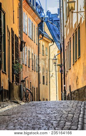 Medieval Alleyways And Cobbled Streets The Old Town, Gamla Stan In Stockholm