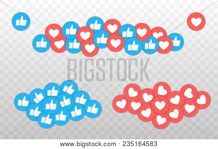 Like And Heart Icon. Live Stream Video, Chat, Likes. Social Nets Blue Thumb Up Like And Red Heart We