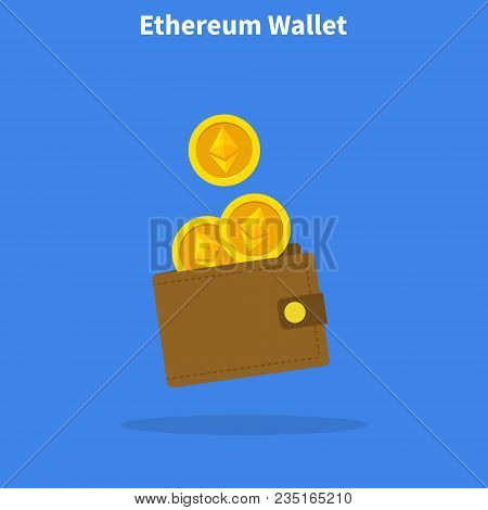 Ethereum Wallet With Coins, Crypto Currency In The Wallet , Ethereum Coins In The Wallet, Design Con