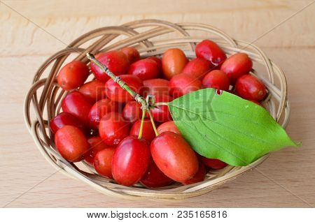 Fresh, Ripe Dogwood Berries With Green Leaf In A Wicker Basket On Wooden Background, Close Up View
