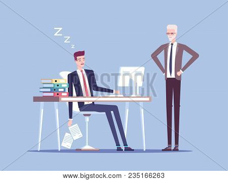 Angry Boss And Male Office Worker Falling Asleep At Work In Office Vector Flat Illustration. Tired B