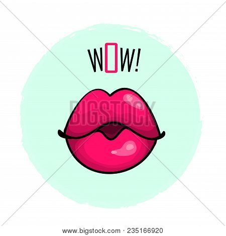 Lips Pink Color With Word Wow Fashion Print Vector Illustration Isolated On White Background