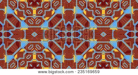 Light Brown Sky Blue Seamless Techno Lines Pattern. Futuristic Geometry Background. Laser Technical