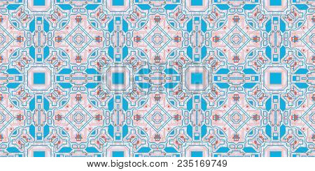 Blue Rose Seamless Techno Lines Pattern. Futuristic Geometry Background. Laser Technical Design Text