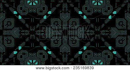 Dark Green Seamless Techno Lines Pattern. Futuristic Geometry Background. Laser Technical Design Tex