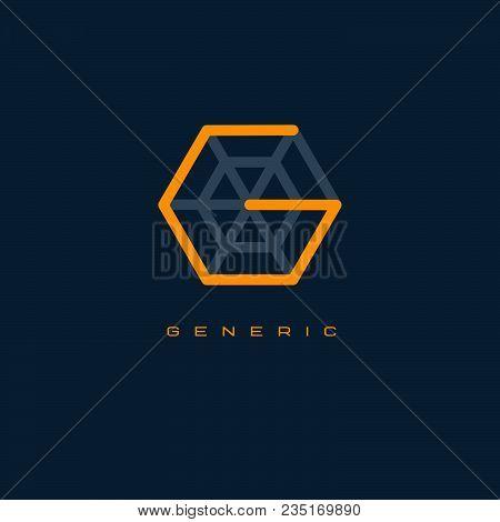 G Monogram. G Letter. Generics Logo. Line Letter In The Hexagon.