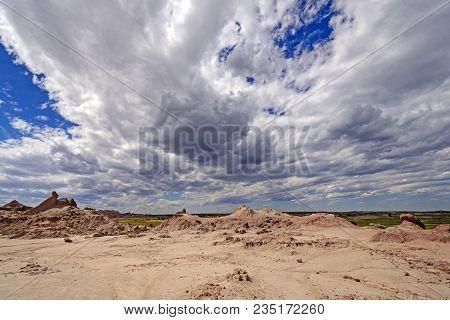 Dramatic Weather Clouds Over The Badlands In Badlands National Park In South Dakota