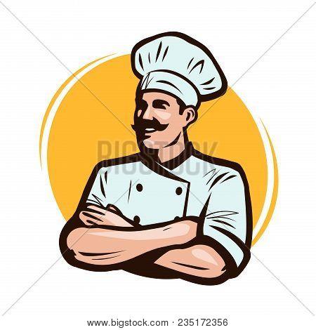 Cook, Chef Logo Or Label. Restaurant Concept. Cartoon Vector