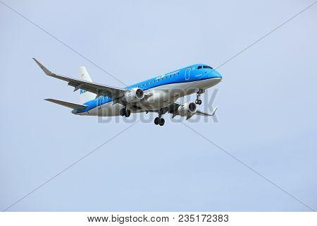 Amsterdam The Netherlands - April, 7th 2018: Ph-exk Klm Cityhopper Embraer Erj-175 Approaching Schip