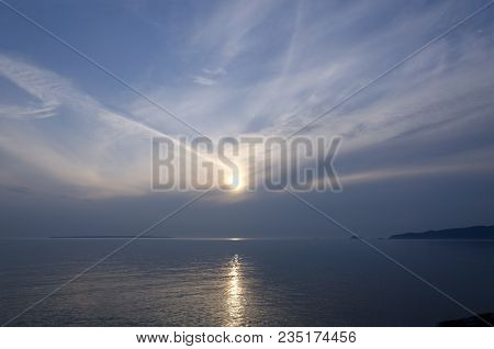 Gray Water Of Superior Lake, Ontario In Sunset Time