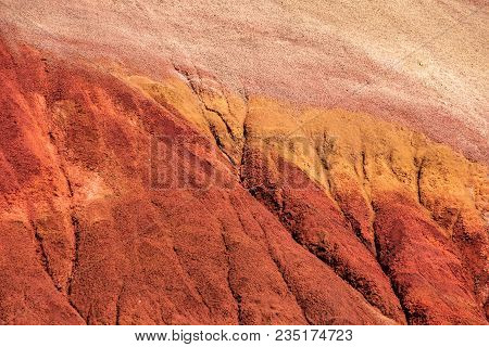 Close View Showing The Texture Of One Of The Oregon Painted Hills. Bold Red Sandy Soil Makes A Singl