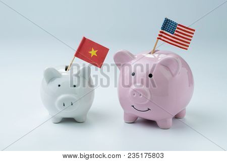 Us And China Finance, Economics Or Trade War Concept, Pink Piggy Bank With Usa National Flag Standin