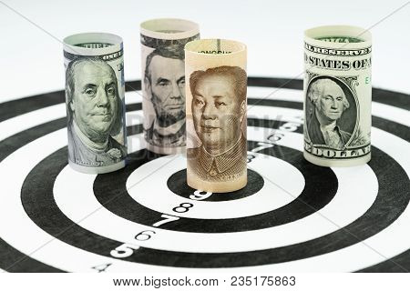Us And China Financial Trade War Tariff Strategy Concept, Us Dollar Bank Roll Surround And Targeting
