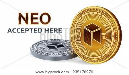 Neo. Accepted Sign Emblem. Crypto Currency. Golden And Silver Coins With Neo Symbol Isolated On Whit