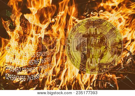 Burning With Orange Flame Of Cryptocurrency Mining Dual Mining Gold Bitcoin Cryptocurrency Mining By