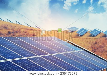 Solar energy modern electric power production technology renewable energy concept