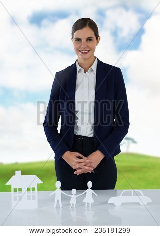 Cut outs of House Family and Car with model and landscape