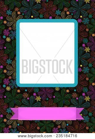 Graceful Greeting Card. Geometric Colorful Floral Pattern. Blue Frame For Custom Photo. Pink Banner