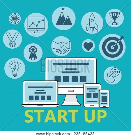 Start Up Pattern Of Outline Icons Set. Poster With Start Up Business Icons Suitable For Infographics