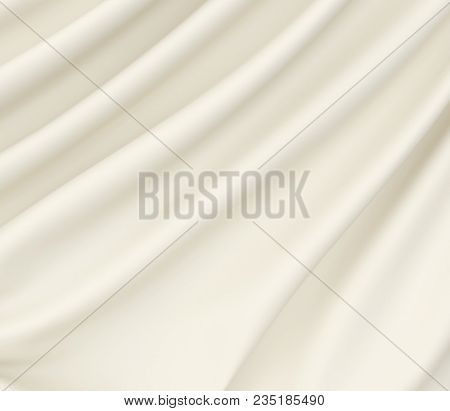 Beautiful White Satin Fabric For Drapery Abstract Background