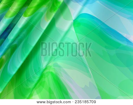 Beautiful Green Satin Fabric For Drapery Abstract Background